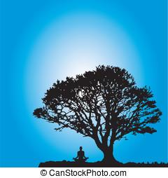 elmélkedik, jogi, fa, alatt