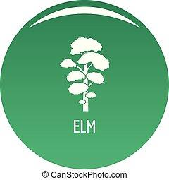 Elm tree icon vector green