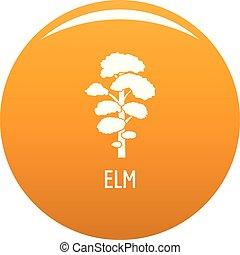 Elm tree icon vector orange