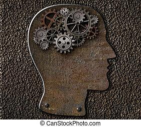 elmebeli betegség, lélektan, fém, gondolat, cogs., agyonüt, feltalálás, fogaskerék-áttétel, concept.