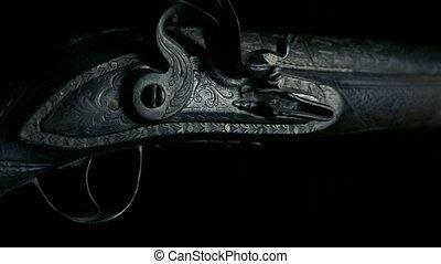 elmenő, antik, vadászpuska, closeup