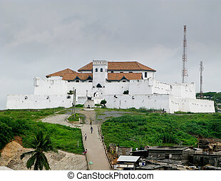 Elmina Castle was the exit port for slaves from Ghana in Africa. This is the entrance to the fort