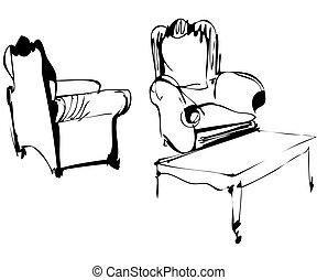elnökké választ, asztal, kávécserje, két