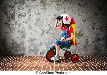 elnyomott bicikli, retro, gyermek
