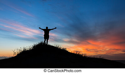 elogiar, deus, pôr do sol
