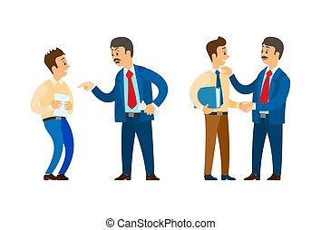 elogio, documentación, trabajador, papeles, jefe
