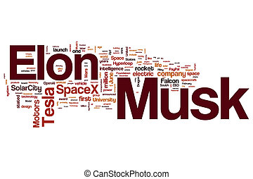 Elon Musk word cloud concept