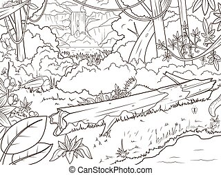 elpirul beír, erdő, waterfal, karikatúra, dzsungel