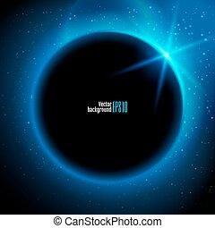 elsötétít, ábra, bolygó, alatt, hely, alatt, kék, rays csillogó, vektor, háttér