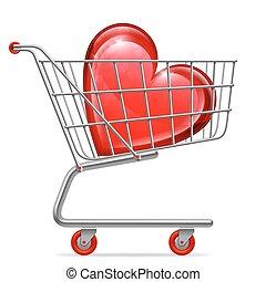 elsk hjerte, ind, shopping cart