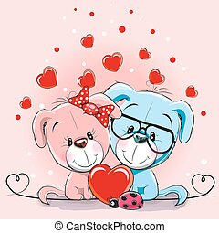 elskere, hunde, card, valentine