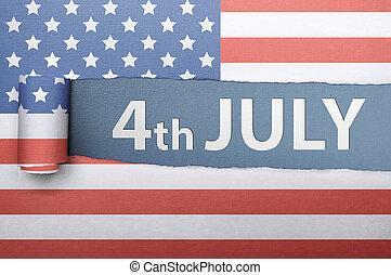 elszakadt, amerikai, 4, lobogó, dolgozat, köszöntések, negyedik, július