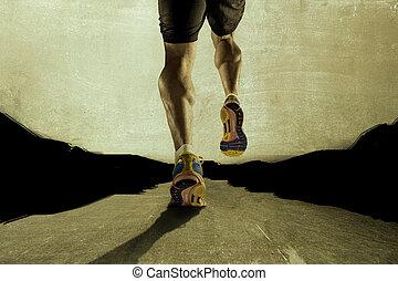 elszakadt, sport, grunge, aszfalt, atlétikai, combok, fiatal, futás, izom, borjú, erős, út, ember
