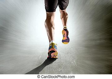 elszakadt, sport, grunge, atlétikai, combok, indítvány, futás, izom, háttér, erős, borjú, ember