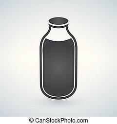 elszigetelt, ábra, vektor, palack, fehér, megfej, ikon