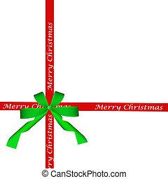 elszigetelt, íj, zöld piros, karácsony, szalag