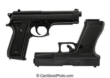 elszigetelt, 17, pisztoly, beretta, glock, white háttér, ...