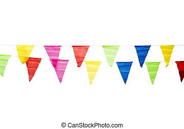 elszigetelt, dekoráció, születésnap, zászlók, háttér, fehér
