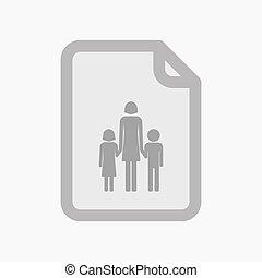 elszigetelt, dokumentum, noha, egy, női, egyes szülők család, pictogram