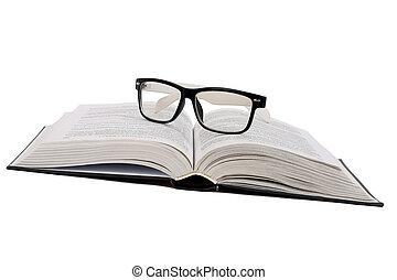 elszigetelt, könyv, black háttér, fehér, szemüveg
