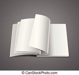elszigetelt, könyv, háttér, fehér, nyílik, oldal