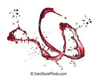 elszigetelt, loccsanás, háttér, white piros, bor