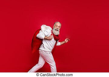 elszigetelt, mód, szent, háttér, csípőre szabott, öltözék, kötött, idősebb ember, szerep, piros, hoz, hord, tehetség, ember, friss, modern