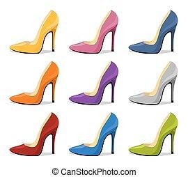elszigetelt, magas, stiletto megsarkal, shoe., árnyék, womens, white piros