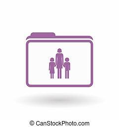elszigetelt, megtölt rajzóra, irattartó, ikon, noha, egy, női, egyes szülők család, pictogram