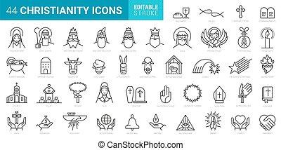 elszigetelt, minimális, alapismeretek, 44, állhatatos, ikonok, háttér, keresztény, fehér, vektor