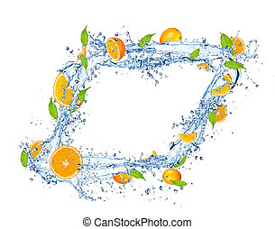elszigetelt, narancsfák, víz, loccsanás, háttér, friss, esés, fehér