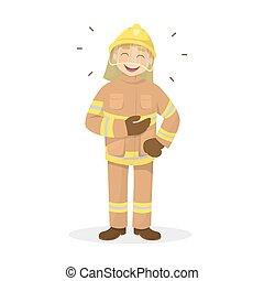 elszigetelt, nevető, fireman.