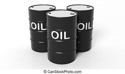 elszigetelt, olaj, háttér, fekete, dobok, fehér, 3