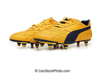 elszigetelt, sárga, csizma, háttér, fehér, futball