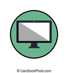 elszigetelt, számítógép, bemutatás, ikon