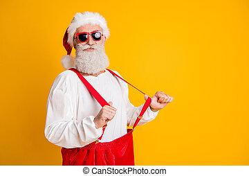 elszigetelt, x-mas, klaus, jelentékeny, nadrágtartó, félreáll autó, szín, hajlandó, sárga, modern, friss, ünneplés, elegáns, karácsony, szent, fél, csípőre szabott, háttér