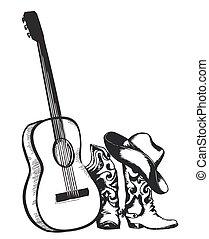 elszigetelt, zene, cowboy csizma, gitár, fehér