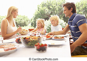 eltern, mit, kinder, genießen, a, picknick