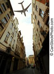 eltolódás, felett, repülőgép, -, város, brüsszel, billenés