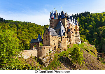 Eltz castle gates and fortification side view ...
