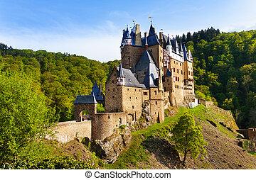 Eltz castle gates and fortification side view Muenstermaifeld, Mayen-Koblenz, Rhineland-Palatinate, Germany Europe