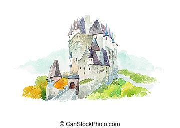 eltz, marcos, ilustração, famosos, alemanha, waercolor, castelo, turismo, viagem