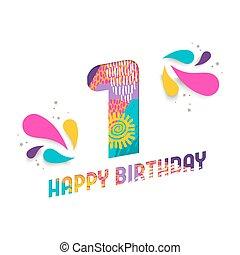 elvág, köszönés, születésnap, egy, 1, dolgozat, év, kártya, boldog
