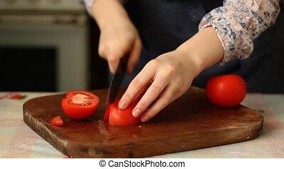 elvág növényi, nő, fiatal, konyha