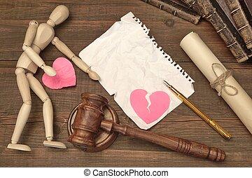 elválás, fogalom, alatt, a, court., árverezői kalapács, törvénykönyv, bírók, árverezői kalapács