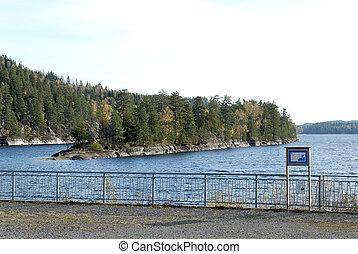 Elvåga Dam - The dam rail and Elvåga lake in the...