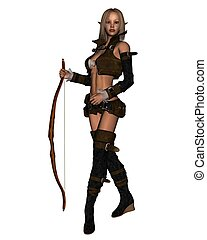 Elven Archer - 1 - Female elven archer with bow, 3d...