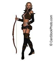 Elven Archer - 1 - Female elven archer with bow, 3d...