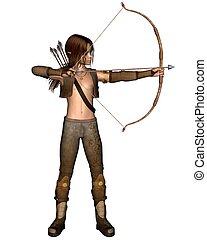 elven, caçador, jovem, arco