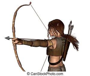 elven, caçador, -, jovem, arco, portr